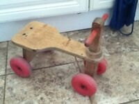 WOODEN TROLLEY AND TRIKE