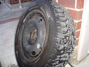 Hankook I Pike Snow tires mounted on steel rims