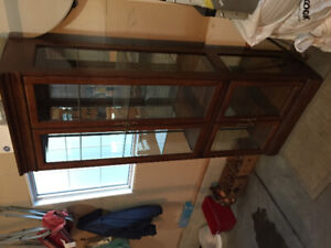 China Cabinet with Cherry Wood Finish - Like New Condition