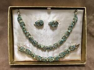 Rhinestone/Enamel Goldtone Parure - Earrings, Choker & Bracelet