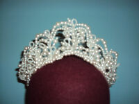 White Tiara for your wedding day with tiny pearl beads. I paid $