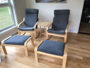 2 chairs and foot rests for sale  best offer
