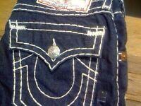 True Religion jeans Navy Blue with white stitching waist 34