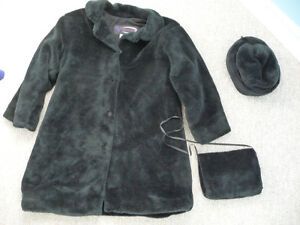 Black Faux Fur Jacket, Hat, and Muff - Youth Size 8 - Never Worn
