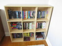 WOODEN SHELVING UNIT-9 CUBES-LOTS OF STORAGE-GOOD CONDITION