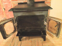 Vintage SPACE HEATER WOOD FIREPLACE  With lovely brass doors.
