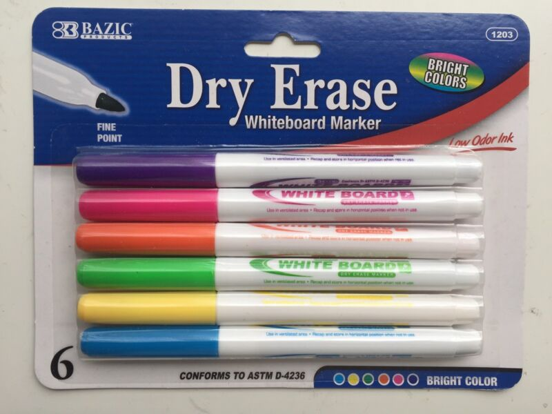 6/Pk Dry Erase White Board Markers Fine Point Tip 6 Colors  NEW!!
