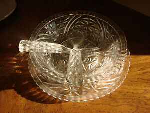Cut Glass Salad/Punch Bowls w/ Trays, Fork & Spoon Peterborough Peterborough Area image 2