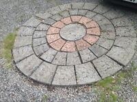 Large decorative circle paving slabs