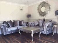 New Silver Grey Crushed Velvet 3 + 2 Sofas Couch Settee