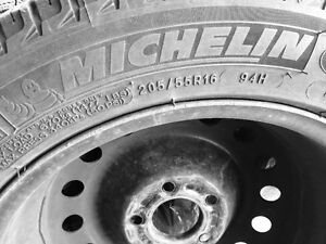 Michelin snow tires 205/55/16 - set of 4 with rims