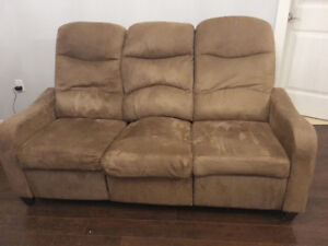 Reclining Brown Sofa and Reclining Chair.