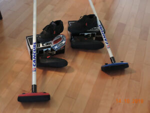 CURLING SHOES AND BROOMS