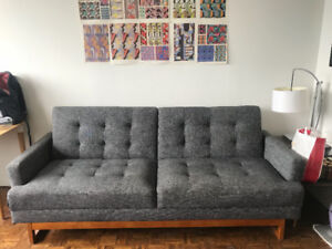 Grey tweed Couch - folds out into bed