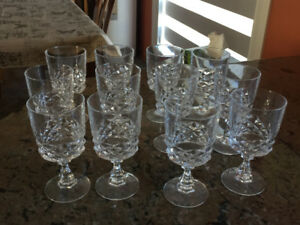 Set of 12 crystal wine glasses; crystal decanter