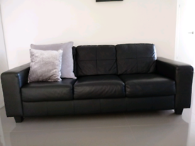 Black leather 3 seater Ikea sofa