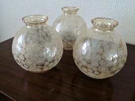 3 vintage retro glass pendant lamp shades