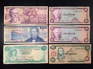 Lot of 6 Banknotes: Mexico, Jamaica, Bahamas, (30+ years old)