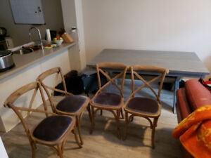Silver/Grey Dining Table + 4 Chairs (Excellent Condition)