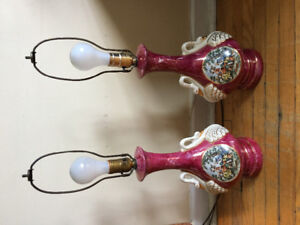 Vintage George and Martha Washington Colonial Lamps Circa 1940s