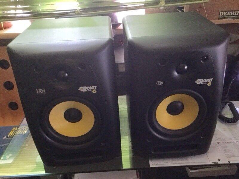 KRK Rokit 6 studio powered speakers.