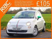 2012 Fiat 500 1.2 Pop 5 Speed Bluetooth Just 2 Lady Owners Only 26,000 Miles Ser