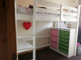High sleeper with mattress, desk & storage