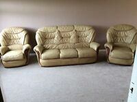 Italian leather sofa with 2 chairs