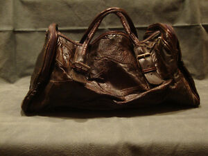 Dark Brown Spanish leather carry on bag.
