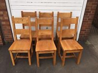 6 solid oak barker and stonehouse chairs