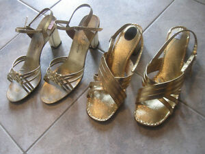 TWO PAIR OPEN-TOED and HEELED GOLD EVENING SHOES..[