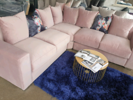 NEW Large Blush Pink Velvet Corner Sofa DELIVERY AVAILABLE