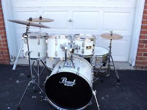 6 pc. Pearl Export drums, Zildjian Cymbals, hardware