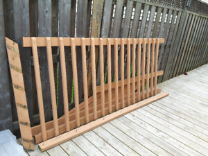 Deck railing and spindles.
