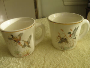 "PAIR of MATCHING AMER.-MADE ""WILD FOWL"" TEA CUPS"
