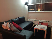Sofa-bed / Floor lamp / 2 coffee tables - Great condition - 800$