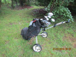 Left Hand Clubs, Bag and Cart