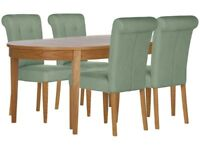 Schreiber Corscombe Oak Dining Table & four fabric chairs