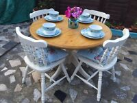 SOLD Shabby chic pine dining table with 4 chairs