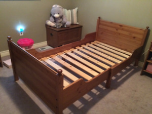 Ikea solid wood twin extendable bed & adjustable mattress