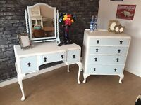 Matching Vintage Shabby Chic Dressing Table, Drawers, Mirror - Can Deliver