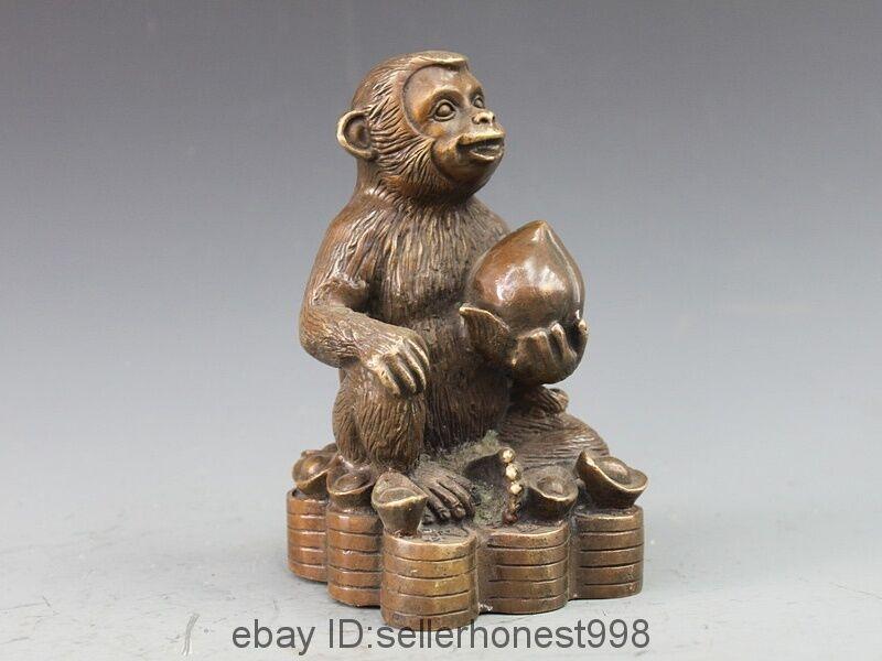 China Bronze Copper Auspicious Zodiac Coin Wealth YuanBao Peach Monkey Statue