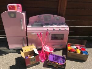 Toy Kitchen -- Stove, Fridge, Microwave, Pretend Food and Tools