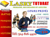 TUITION FOR MATHEMATICS, SCIENCE AND FRENCH 120/month