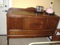 Antique Gibbard burled walnut sideboard