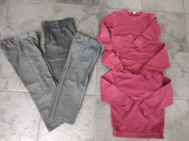 Boys school uniform grey trousers and burgundy jumpers size 5-6 years