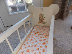 Vintage Doll Cradle and High Chair Set