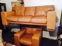 Tan leather 3 and 1 sofa set