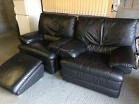2 X Natuzzi black leather armchair / chair plus footstool