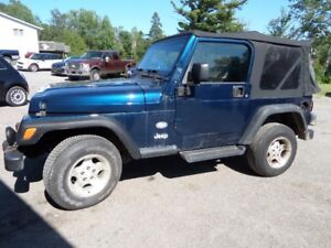 2003 JEEP TJ - SLIGHT DAMAGE - COLD A/C - $2495. AS IS